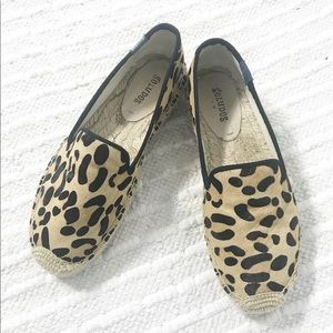 Soludos Calf Hair Leopard Animal Print Platform
